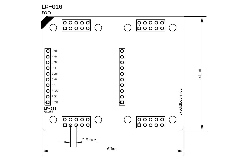 stack2Learn Punkt-Streifenrasterplatine, vertikal, 2,54RM, doppe