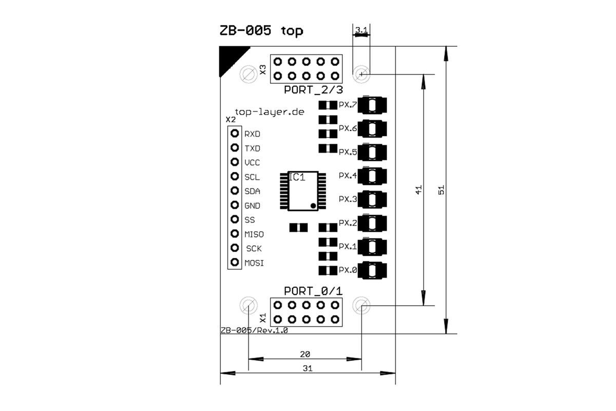 ZB-005 V1.00: 8xLED Board